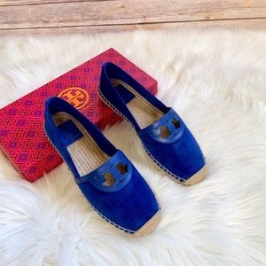 Tory Burch Jelly Blue Suede Sidney Espadrille Flat